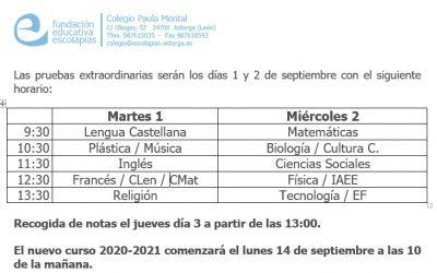 Exámenes septiembre ESO